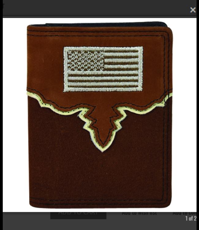 Justin Justin Men's Front Pocket Bifold Wallet Yoke W/USA Flag