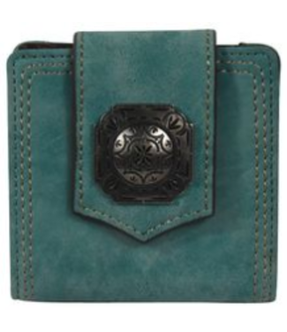 Justin Justin Ladies Bifold Turquoise with Concho