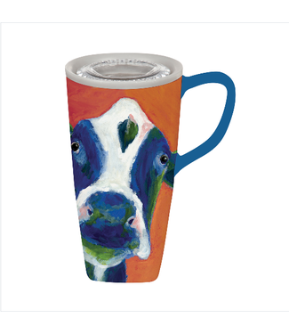 Evergreen Enterprises 17 oz Ceramic Travel Mug Cow Portrait