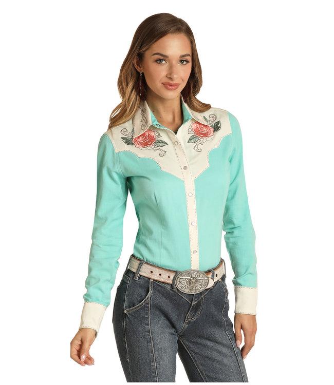 Panhandle Slim Ladies Retro Snap Shirt with Embroidery