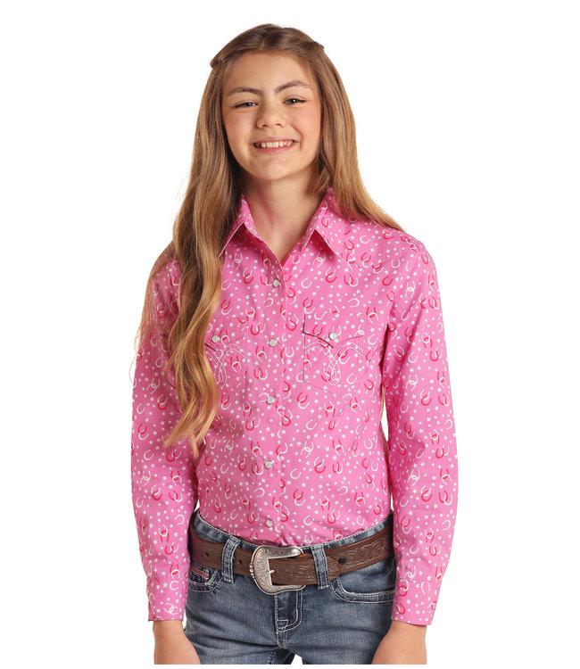Panhandle Slim Girls Pink Snap Shirt with Horseshoe Pattern