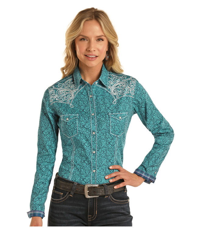 Panhandle Slim Ladies Floral Aztec Snap Shirt with Boot Stitch