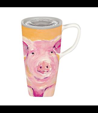 Evergreen Enterprises Ceramic FLOMO 360 Travel Cup, 17 OZ, Pig Portrait