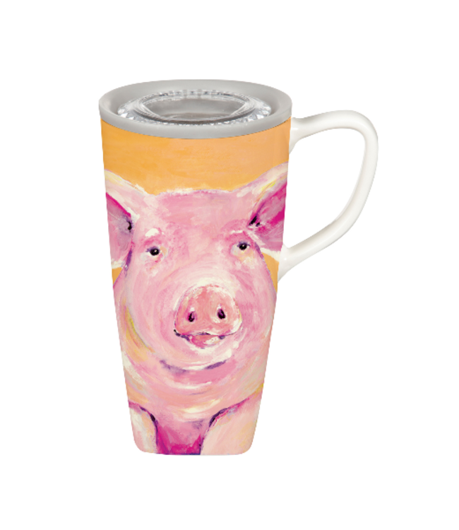 Evergreen Enterprises Ceramic FLOMO 360 Travel Cup, 17 OZ, Pig Portrait