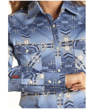 Panhandle Slim Ladies Cool Blue Distressed Aztec Print Snap Shirt