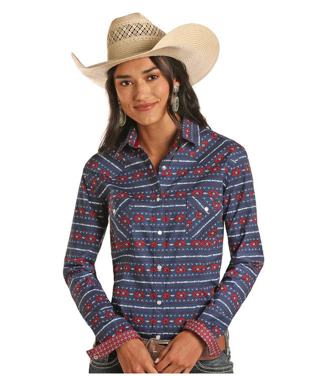 Panhandle Slim Ladies Indigo Aztec Stripe Snap Shirt