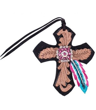 Showman Saddle Cross with Pink and Turquoise Feather