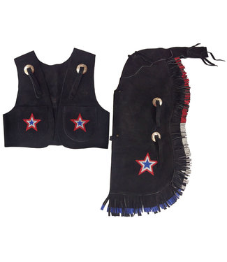 Showman Kid's Chap and Vest Set Black Suede with Stars