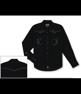 Wrangler Rock 47 Black Long Sleeve Snap Shirt