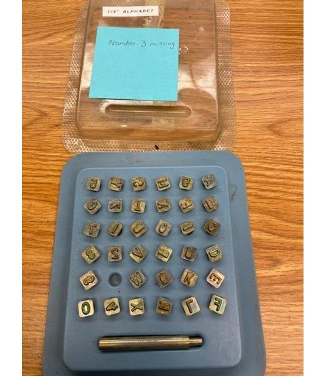 "Vintage Craftool 1/4"" Alphabet Set *Missing #3"