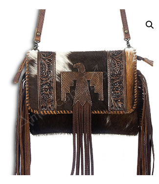 Fringe and Cowhide Crossbody with Leather Bird