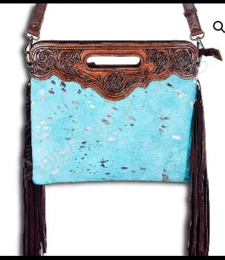 Turquoise Cowhide w/ Fringe & Tooled Leather Crossbody