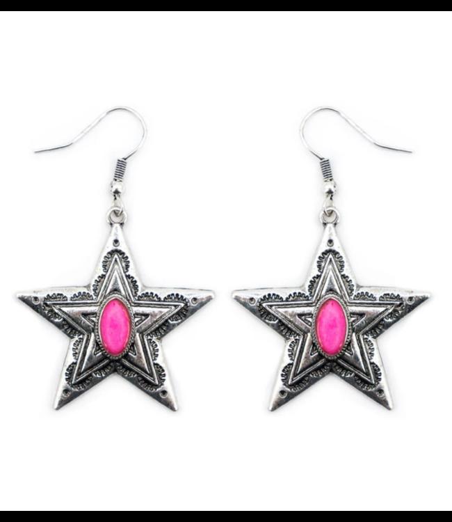 Fuchsia Stone and Silvertone Star Earrings