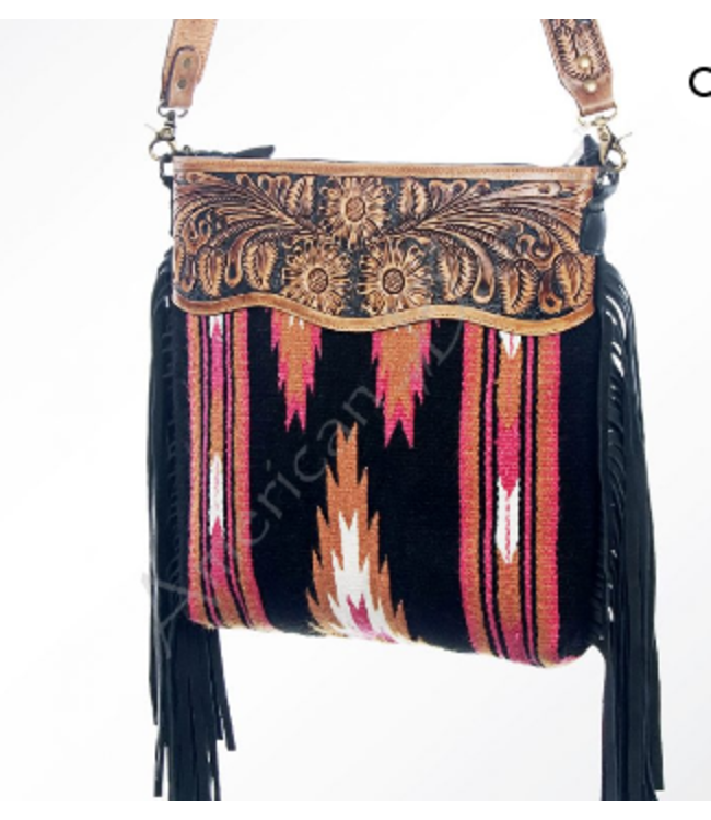 Black and Pink Aztec Woven Wool Crossbody