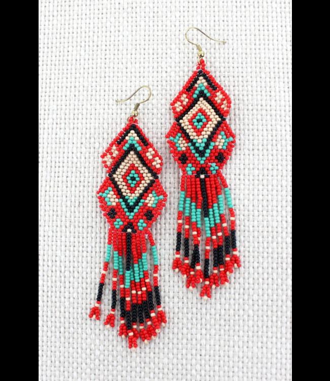 Coral Multi-Color Seed Bead Mountain Mesa Earrings