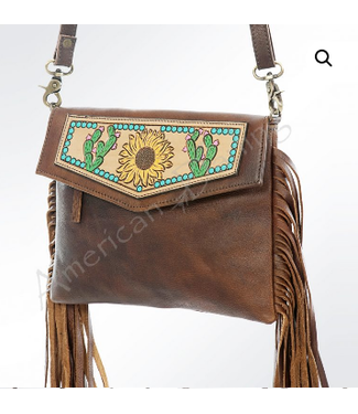 Cactus and Sunflower Painted/Tooled Laather Crossbody