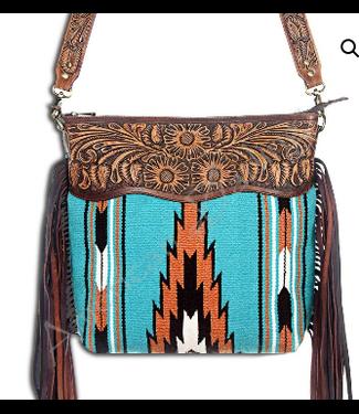 Large Turquoise Aztec Woven Wool Crossbody