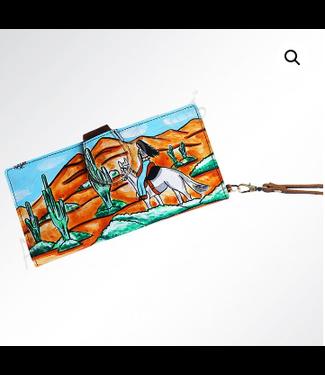 Desert Rider Painted Leather Wristlet