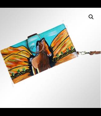 Desert Horse Painted Leather Writslet