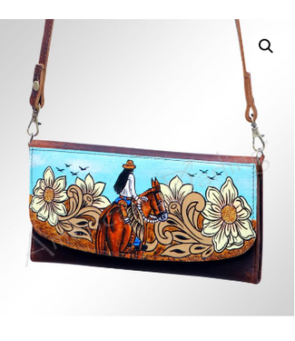 Horse and Rider with Sunflowers Painted Leather Wristlet