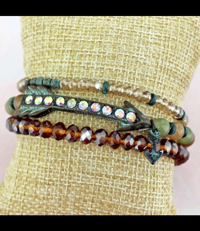 Iridescent Crystal Accented Patina Arrow Beaded Bracelet Set