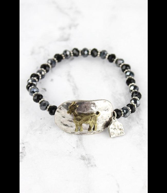 Burnished Silvertone and Brasstone Goat Disk Beaded Bracelet