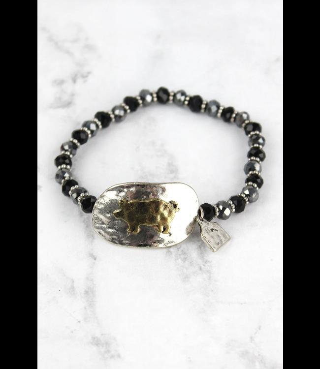 Burnished Silvertone and Brasstone Pig Disk Beaded Bracelet