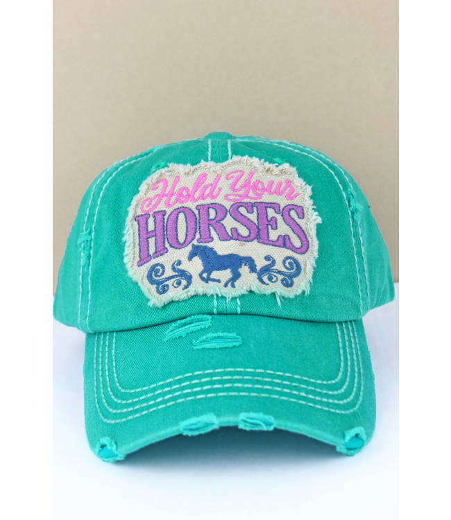 Distressed 'Hold Your Horses' Cap