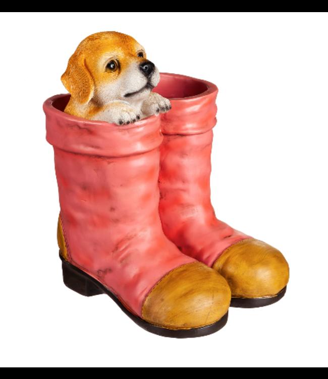 Evergreen Enterprises Dog in Pink Boots Planter