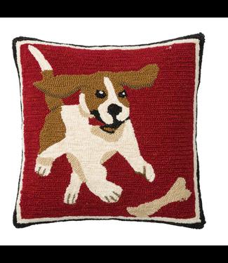 """Evergreen Enterprises Indoor/Outdoor Hooked Pillow, Beagle 18""""x18"""""""