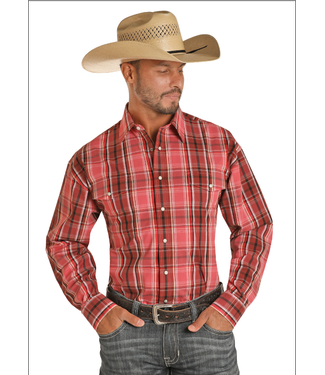 Panhandle Slim Red and Black Plaid Button Up
