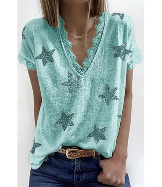 Esley V-Neck Star Print Lace Trim Top