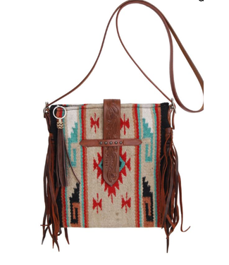 Rafter T Ranch Co. Cross Body Woolen Purse with Brown Fringes Brown Suede Tassel & Tooled Top Flap