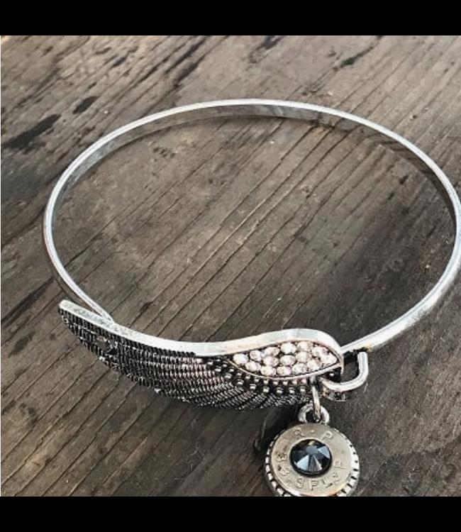 Jill's Jewels Antique Silver Feather Bullet Bracelet