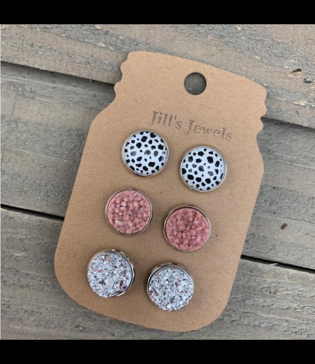 Jill's Jewels Cow Print Pink and Silver Triple Faux Druzy 3 Earring Set