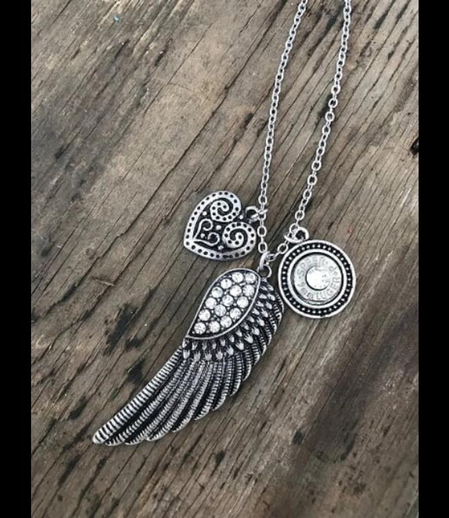 Jill's Jewels Feather Rhinestone Bullet Necklace
