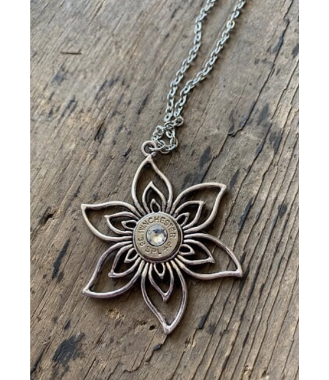 Jill's Jewels Flower 38 Special Bullet Necklace