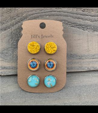 Jill's Jewels Mustard Turquois Mandala Triple Faux Druzy 3 Earring Set