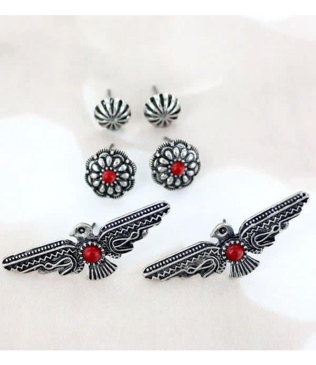 Coral Thunderbird and Flower Stud Earrings 3 Pair Set