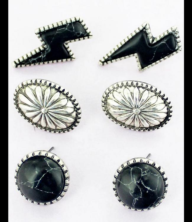 Black Lightning Bolt Silvertone Earrings 3 Pair Set