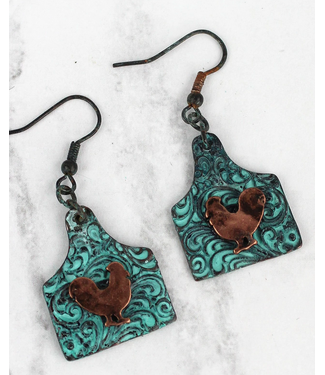 Patina and Burnished Coppertone Rooster Tag Earrings