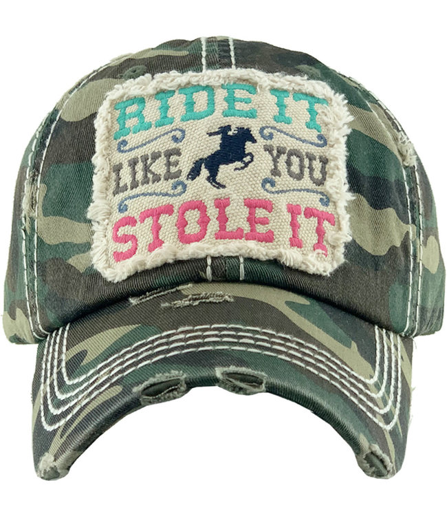 Distressed Camo 'Ride It Like You Stole It' Cap