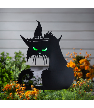 Evergreen Enterprises Metal Halloween Cat Stake with Lighted Eyes