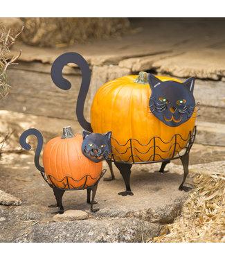 Evergreen Enterprises Set of 2 LED Cat Pumpkin Holders