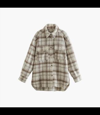 Esley Classic Plaid Print Long Sleeve Oversized Jacket