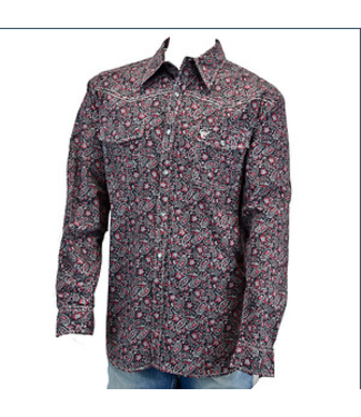 Range Floral Chili Long Sleeve Button Up