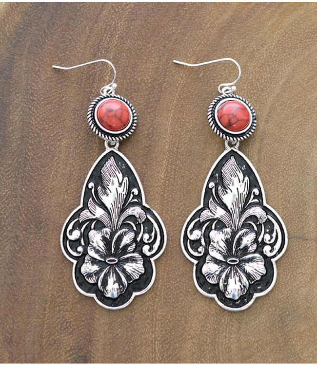Coral Stone Etched Drop Earrings