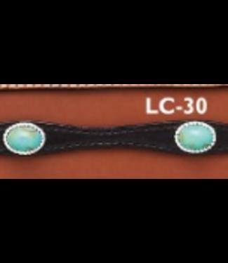 Black Leather Hatband w/ Turquoise