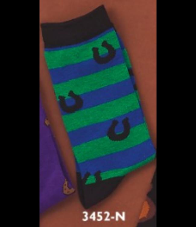 Green/Blue w/Horseshoe Socks