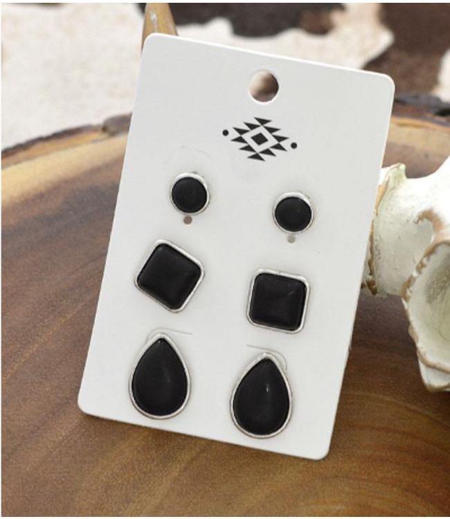 3pc Set Black Western Turqouise Earrings